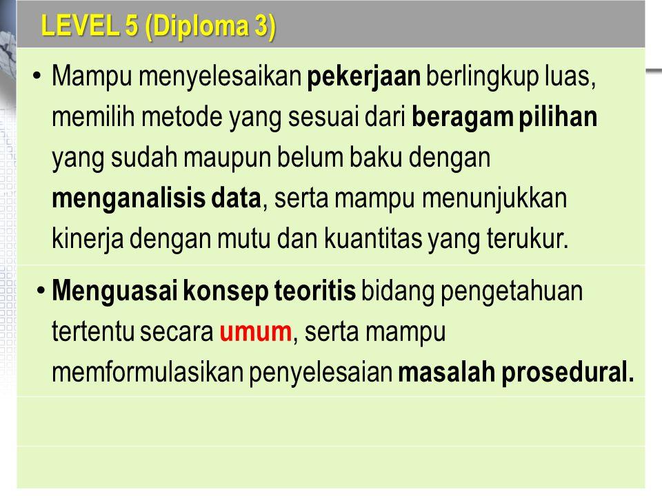 LEVEL 5 (Diploma 3) Mampu menyelesaikan pekerjaan berlingkup luas, memilih metode yang sesuai dari beragam pilihan yang sudah maupun belum baku dengan