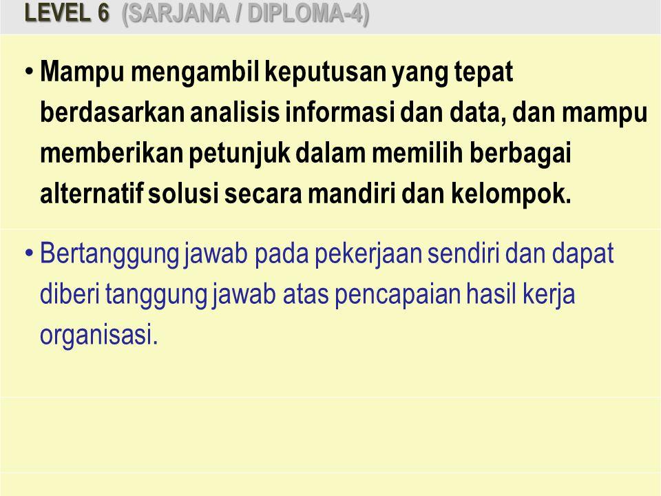 LEVEL 6 (SARJANA / DIPLOMA-4) Mampu mengambil keputusan yang tepat berdasarkan analisis informasi dan data, dan mampu memberikan petunjuk dalam memili
