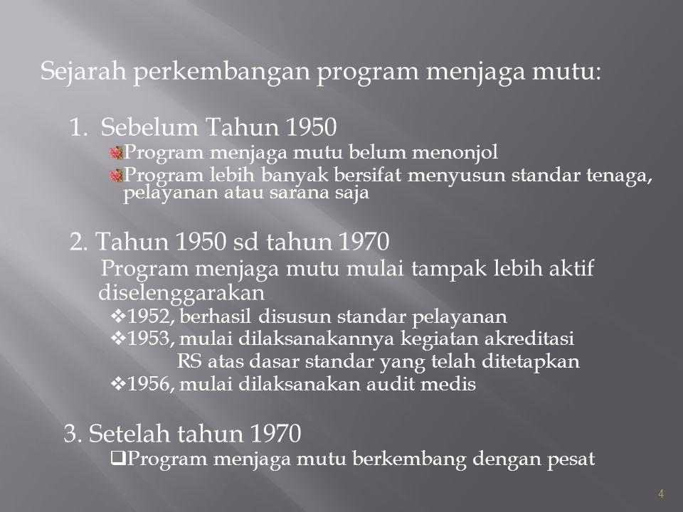 Sejarah perkembangan program menjaga mutu: 1. Sebelum Tahun 1950 Program menjaga mutu belum menonjol Program lebih banyak bersifat menyusun standar te