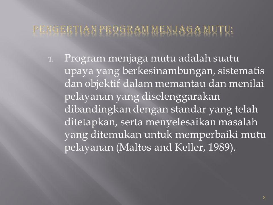1. Program menjaga mutu adalah suatu upaya yang berkesinambungan, sistematis dan objektif dalam memantau dan menilai pelayanan yang diselenggarakan di