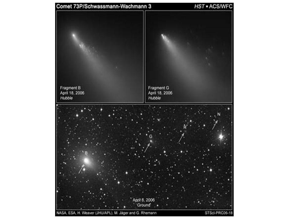 Tiga fragmen komet Schwassman-Wachmann B (73P), 4 Mei 2006, NASA HST Komet Schwassman-Wachmann (73P), 27 April 2006, NASA HST Komet Schwassman-Wachmann C (73P).