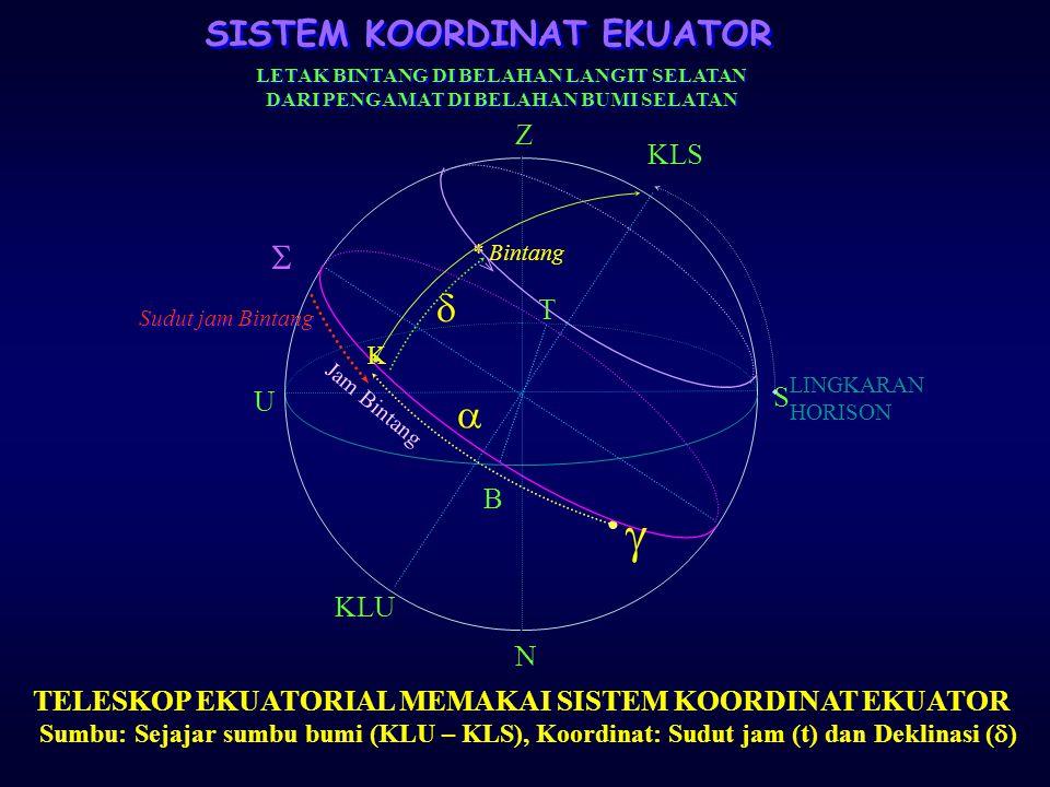 SISTEM KOORDINAT EKUATOR Lingkaran Dasar : Lingkaran Ekuator Langit Koordinat : Asensio rekta (  ) dan Deklinasi (  ).