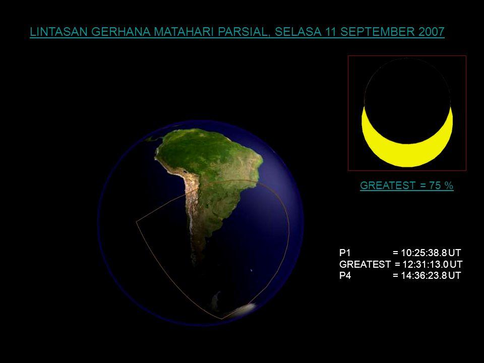 LINTASAN GERHANA MATAHARI PARSIAL (SEBAGIAN), SENIN 19 MARET 2007 P1 = 0:38:17.4 UT GREATEST = 2:31:48.6 UT P4 = 4:24:53.4 UT GREATEST = 87 %