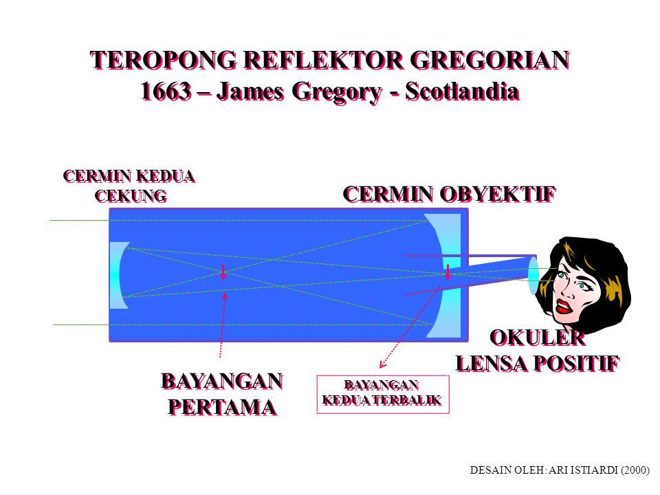 TEROPONG REFRAKTOR 1611 - Johann Kepler - Jerman TEROPONG REFRAKTOR 1611 - Johann Kepler - Jerman OBYEKTIF LENSA POSITIF OBYEKTIF LENSA POSITIF OKULER LENSA POSITIF OKULER LENSA POSITIF BAYANGAN TERBALIK DESAIN OLEH: ARI ISTIARDI (2000)