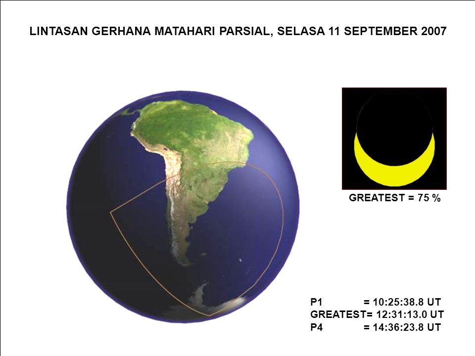 LINTASAN GERHANA MATAHARI PARSIAL (SEBAGIAN), SENIN 19 MARET 2007 P1 = 0:38:17.4 UT GREATEST= 2:31:48.6 UT P4 = 4:24:53.4 UT GREATEST = 87 %