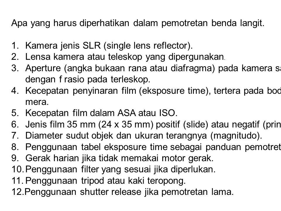 3. Afokal ( Lensa – Lensa Kamera – Eyepiece ) Bidang Film KameraEyepiece Objektif f = F/D = M x F e / D F = F 1 xF c / F e M = F 1 /F e Objektif Bidan