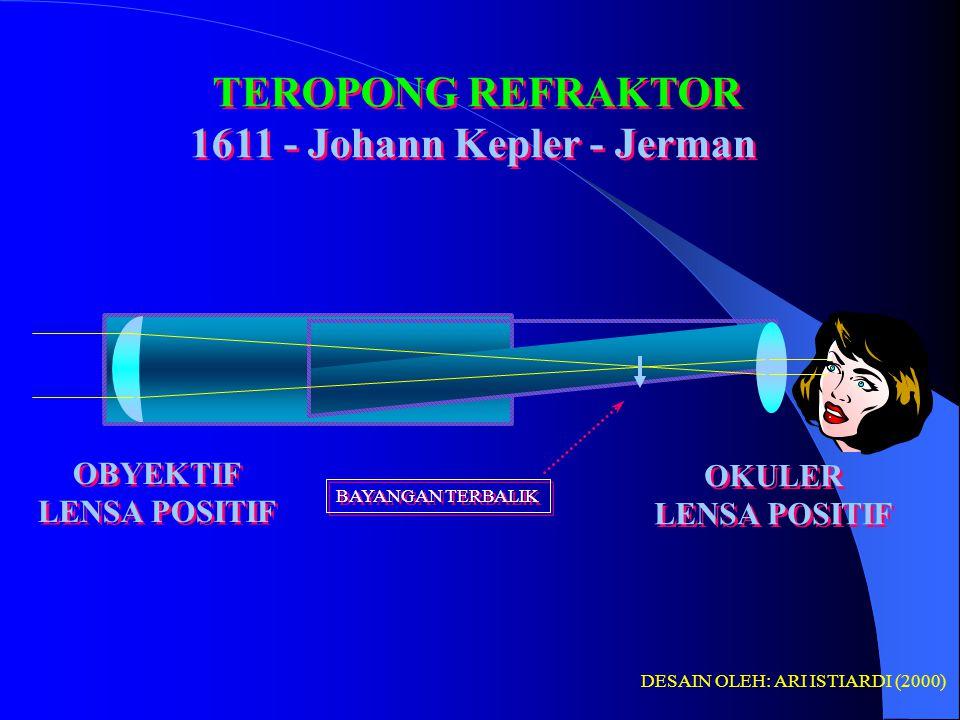 TEROPONG REFRAKTOR (PEMBIAS) GALILEAN 1608 (TELESKOP GALILEO) Penemu teleskop : Jan Lippershey - Holland TEROPONG REFRAKTOR (PEMBIAS) GALILEAN 1608 (TELESKOP GALILEO) Penemu teleskop : Jan Lippershey - Holland OBYEKTIF LENSA POSITIF OBYEKTIF LENSA POSITIF OKULER LENSA NEGATIF OKULER LENSA NEGATIF JENIS-JENIS TELESKOP (TEROPONG BINTANG) DESAIN OLEH: ARI ISTIARDI (2000) BAYANGAN TEGAK