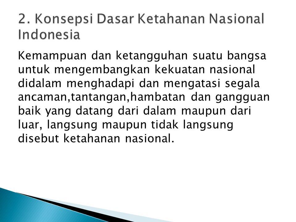 Kemampuan dan ketangguhan suatu bangsa untuk mengembangkan kekuatan nasional didalam menghadapi dan mengatasi segala ancaman,tantangan,hambatan dan ga