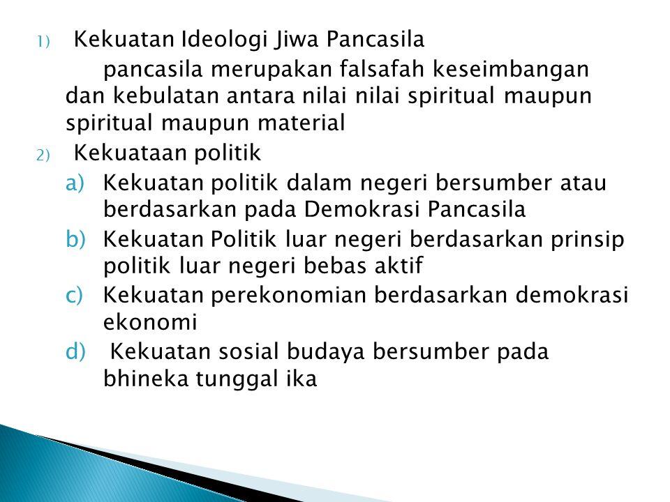 1) Kekuatan Ideologi Jiwa Pancasila pancasila merupakan falsafah keseimbangan dan kebulatan antara nilai nilai spiritual maupun spiritual maupun mater