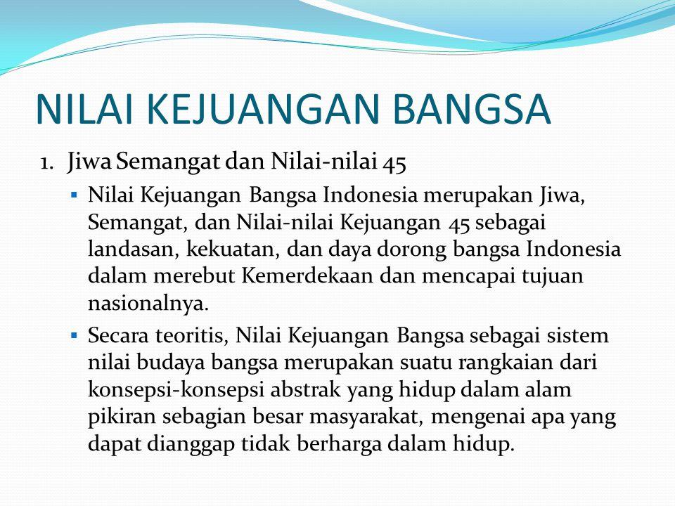 NILAI KEJUANGAN BANGSA 1. Jiwa Semangat dan Nilai-nilai 45  Nilai Kejuangan Bangsa Indonesia merupakan Jiwa, Semangat, dan Nilai-nilai Kejuangan 45 s
