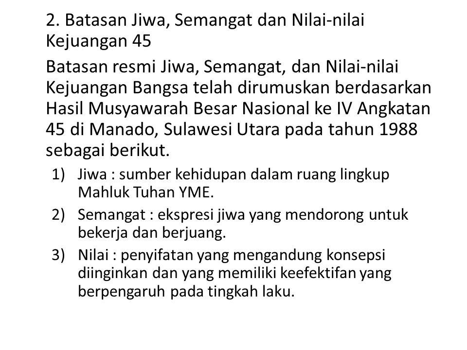 4)Jiwa 45 : sumber kehidupan bagi perjuangan bangsa Indonesia dalam merebut kemerdekaan serta mengisi, menegakkan kedaulatan rakyat dan mempertahankannya.