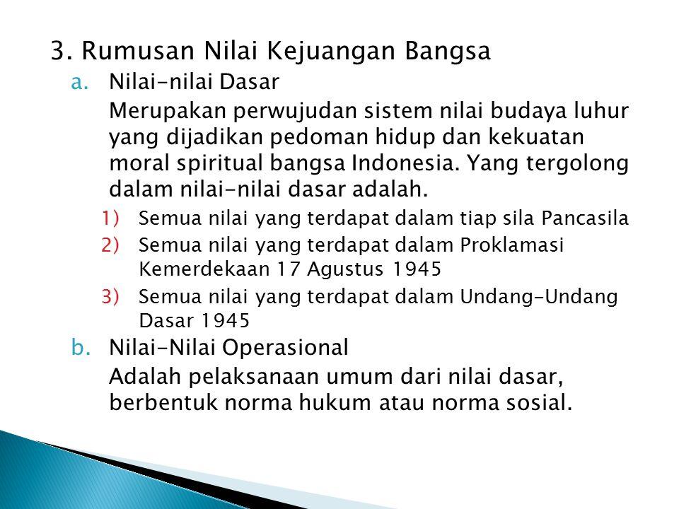 3. Rumusan Nilai Kejuangan Bangsa a.Nilai-nilai Dasar Merupakan perwujudan sistem nilai budaya luhur yang dijadikan pedoman hidup dan kekuatan moral s
