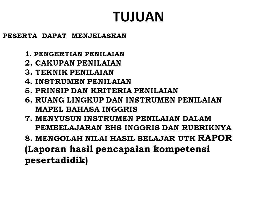 Model Rapor SMP (1) Cakupan NoMapelPengetahuanKetrampilan Sikap Sosial dan Spiritual Dalam MapelAntarmapel Kelompok A 1Pendidikan Agama dan Budi Pekerti 2Pendidikan Pancasila dan Kewarganegaraan 3Bahasa Indonesia 4Matematika 5Ilmu Pengetahuan Alam 6Ilmu Pengetahuan Sosial 7Bahasa Inggris Kelompok B 1Seni Budaya 2Pendidikan Jasmani, Olah Raga, dan Kesehatan 3Prakarya Penilaian Proses dan Hasil Belajar