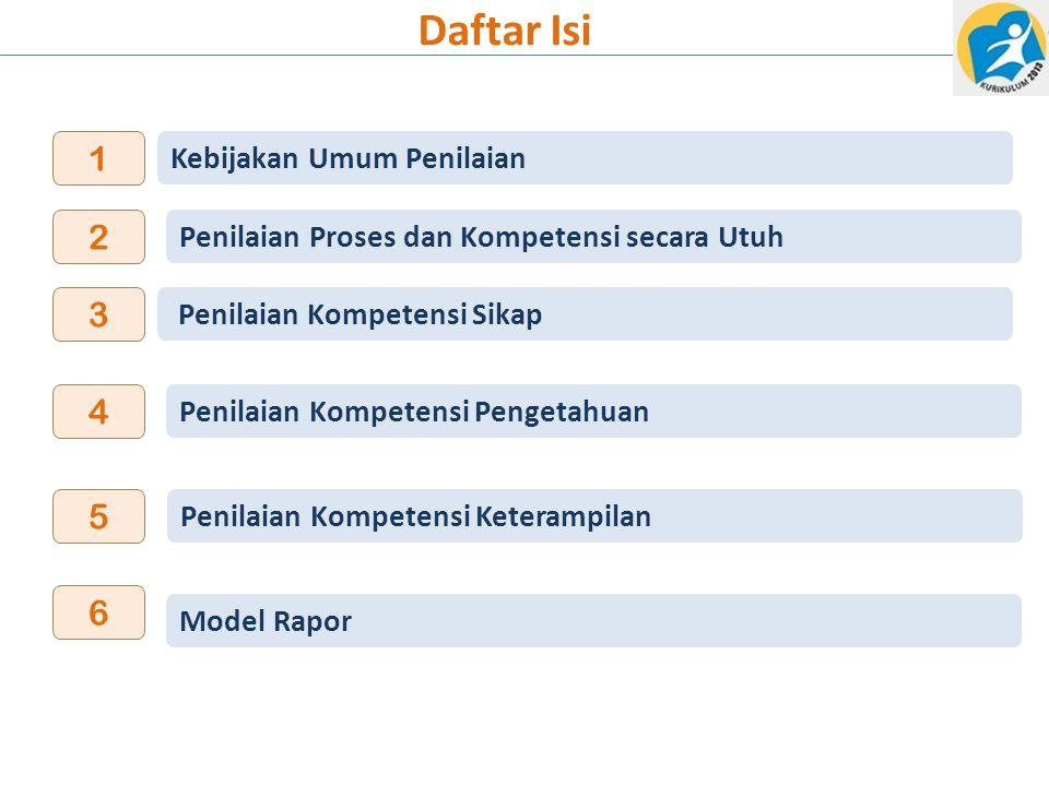 Daftar Isi Model Rapor 6 3 4 5 Penilaian Kompetensi Pengetahuan Penilaian Kompetensi Keterampilan Penilaian Kompetensi Sikap Kebijakan Umum Penilaian 1 2 Penilaian Proses dan Kompetensi secara Utuh
