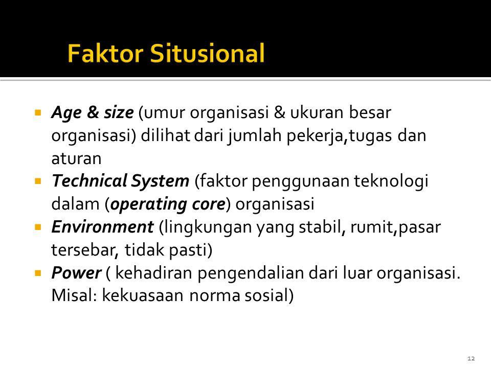  Age & size (umur organisasi & ukuran besar organisasi) dilihat dari jumlah pekerja,tugas dan aturan  Technical System (faktor penggunaan teknologi