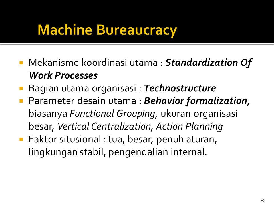  Mekanisme koordinasi utama : Standardization Of Work Processes  Bagian utama organisasi : Technostructure  Parameter desain utama : Behavior forma