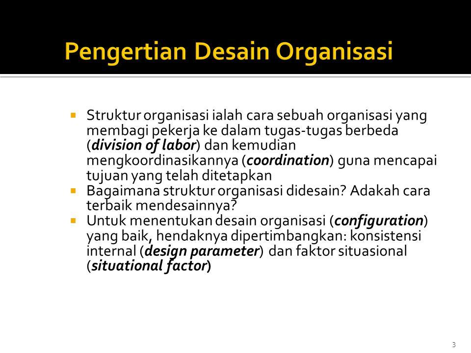  Mekanisme Koordinasi Utama: Direct Supervision  Bagian Utama Organisasi: Strategic Apex  Parameter Desain Utama: Centralization, Organic Structure  Faktor Situasional: muda, kecil, operasi sederhana, lingkungan dinamik,Top Manager orang kuat.