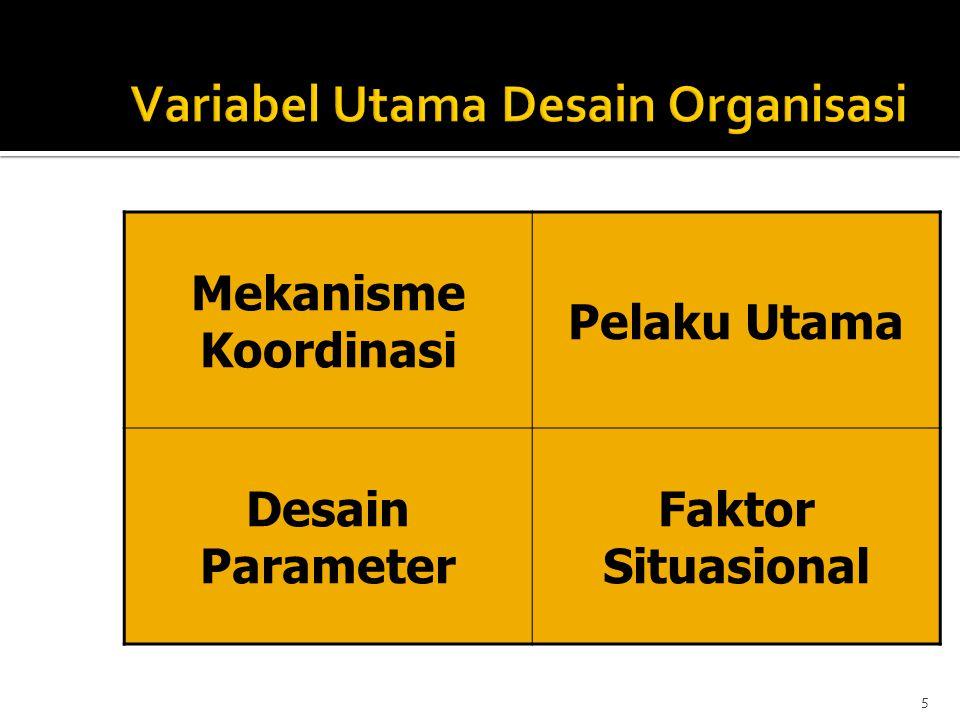  Mekanisme koordinasi utama: Standardization Of Skill  Bagian utama organisasi: Operating Core  Parameter desain utama: pelatihan, horizontal specialization, vertical & horizontal decentralization.