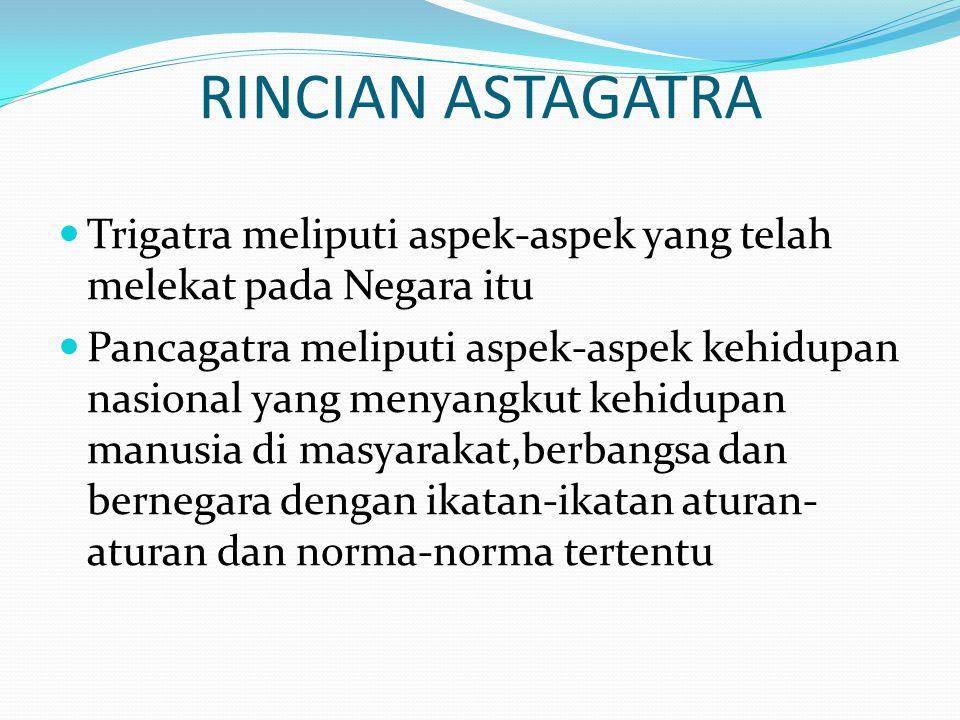 RINCIAN ASTAGATRA Trigatra meliputi aspek-aspek yang telah melekat pada Negara itu Pancagatra meliputi aspek-aspek kehidupan nasional yang menyangkut