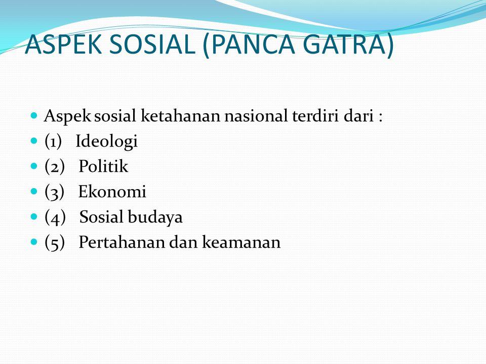 ASPEK SOSIAL (PANCA GATRA) Aspek sosial ketahanan nasional terdiri dari : (1) Ideologi (2) Politik (3) Ekonomi (4) Sosial budaya (5) Pertahanan dan ke