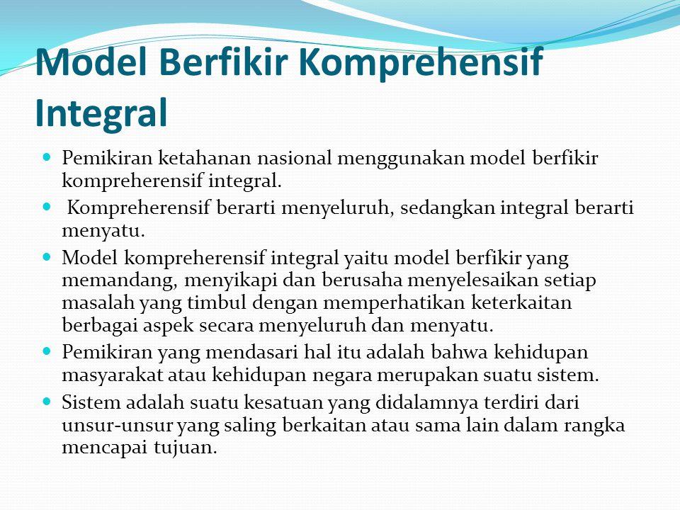 Model Berfikir Komprehensif Integral Pemikiran ketahanan nasional menggunakan model berfikir kompreherensif integral. Kompreherensif berarti menyeluru