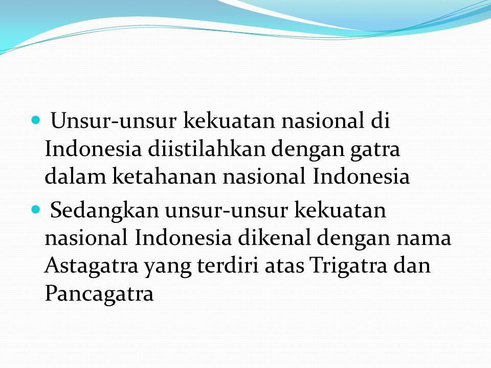Unsur-unsur kekuatan nasional di Indonesia diistilahkan dengan gatra dalam ketahanan nasional Indonesia Sedangkan unsur-unsur kekuatan nasional Indone