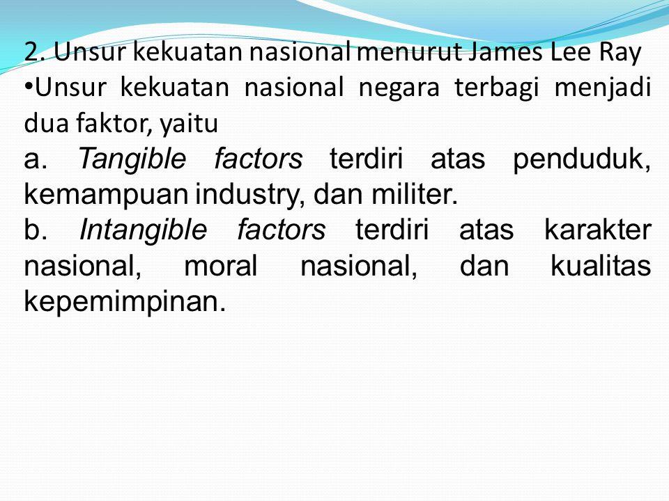 2. Unsur kekuatan nasional menurut James Lee Ray Unsur kekuatan nasional negara terbagi menjadi dua faktor, yaitu a. Tangible factors terdiri atas pen