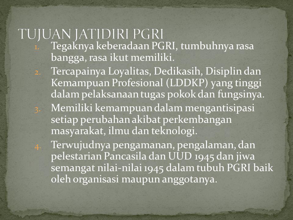 1. Tegaknya keberadaan PGRI, tumbuhnya rasa bangga, rasa ikut memiliki. 2. Tercapainya Loyalitas, Dedikasih, Disiplin dan Kemampuan Profesional (LDDKP