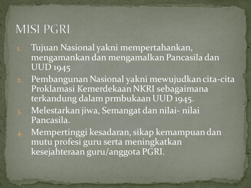 1. Tujuan Nasional yakni mempertahankan, mengamankan dan mengamalkan Pancasila dan UUD 1945 2. Pembangunan Nasional yakni mewujudkan cita-cita Proklam