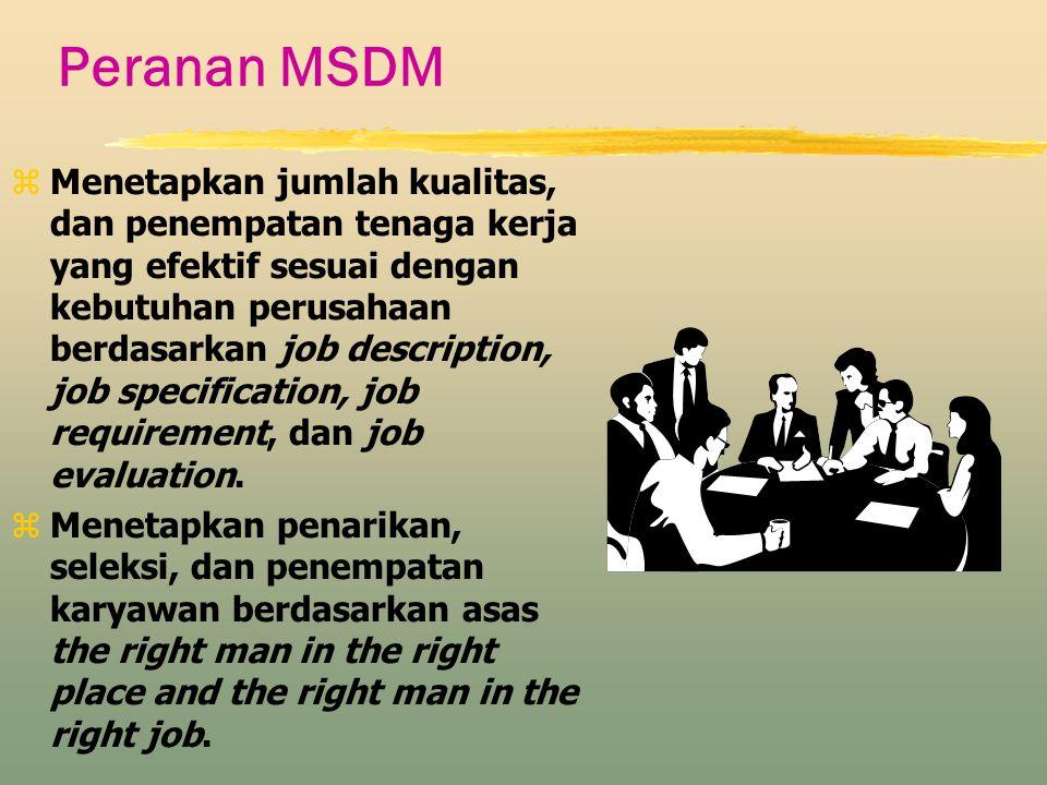 Peranan MSDM zMenetapkan jumlah kualitas, dan penempatan tenaga kerja yang efektif sesuai dengan kebutuhan perusahaan berdasarkan job description, job
