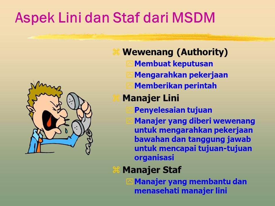 Aspek Lini dan Staf dari MSDM z Wewenang (Authority) yMembuat keputusan yMengarahkan pekerjaan yMemberikan perintah z Manajer Lini yPenyelesaian tujua