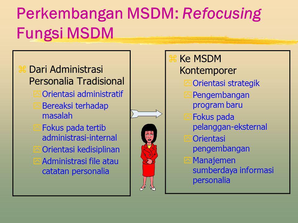 Perkembangan MSDM: Refocusing Fungsi MSDM zDari Administrasi Personalia Tradisional yOrientasi administratif yBereaksi terhadap masalah yFokus pada te