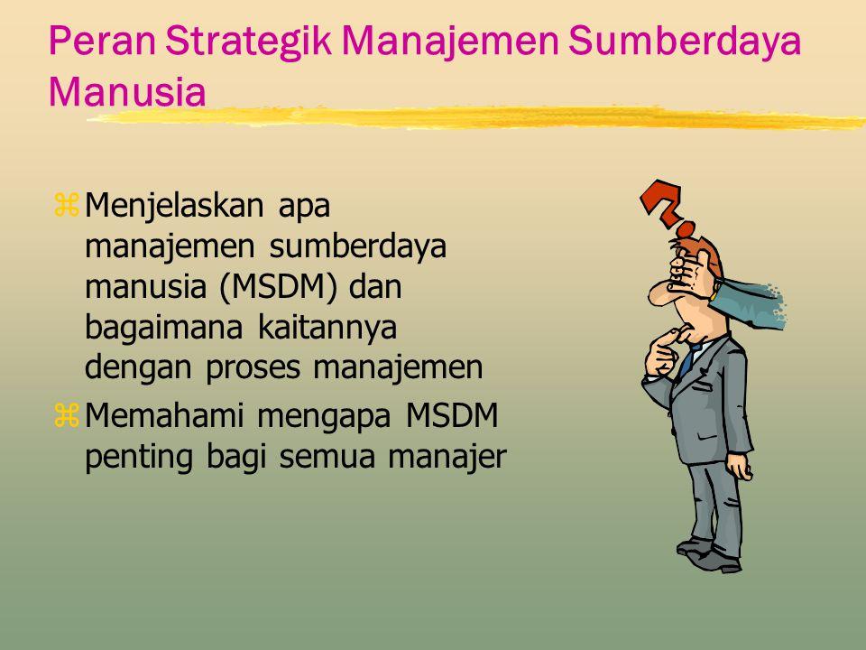Peran Strategik Manajemen Sumberdaya Manusia zMenjelaskan apa manajemen sumberdaya manusia (MSDM) dan bagaimana kaitannya dengan proses manajemen zMem