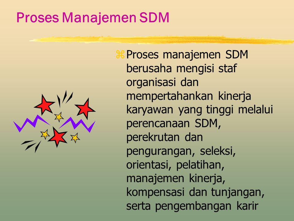Proses Manajemen SDM z Proses manajemen SDM berusaha mengisi staf organisasi dan mempertahankan kinerja karyawan yang tinggi melalui perencanaan SDM,
