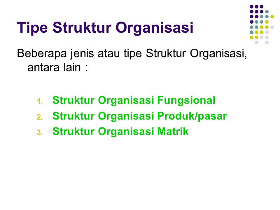 Tipe Struktur Organisasi Beberapa jenis atau tipe Struktur Organisasi, antara lain : 1. Struktur Organisasi Fungsional 2. Struktur Organisasi Produk/p