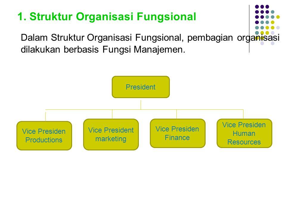 1. Struktur Organisasi Fungsional Dalam Struktur Organisasi Fungsional, pembagian organisasi dilakukan berbasis Fungsi Manajemen. President Vice Presi