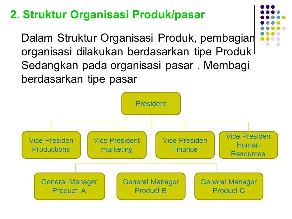 2. Struktur Organisasi Produk/pasar Dalam Struktur Organisasi Produk, pembagian organisasi dilakukan berdasarkan tipe Produk Sedangkan pada organisasi