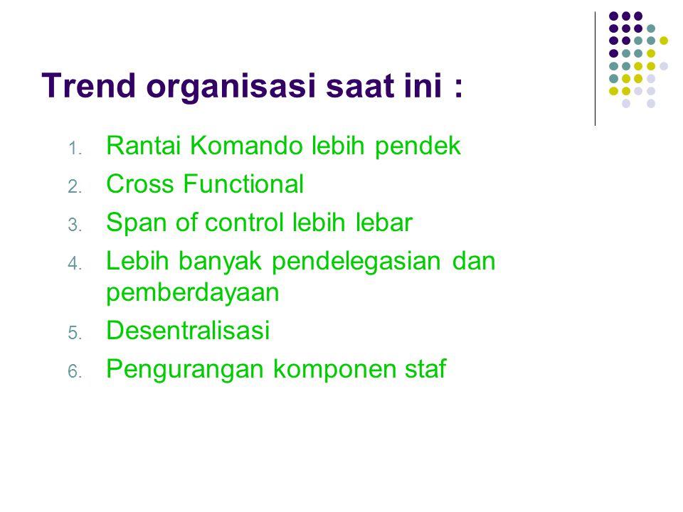 Trend organisasi saat ini : 1. Rantai Komando lebih pendek 2. Cross Functional 3. Span of control lebih lebar 4. Lebih banyak pendelegasian dan pember