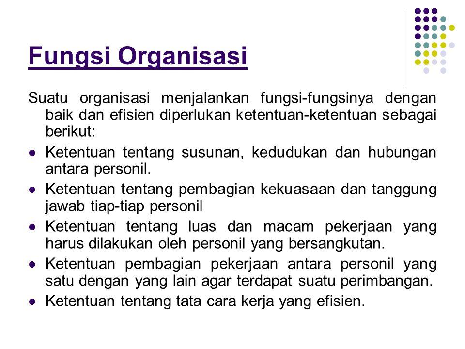 Fungsi Organisasi Suatu organisasi menjalankan fungsi-fungsinya dengan baik dan efisien diperlukan ketentuan-ketentuan sebagai berikut: Ketentuan tent