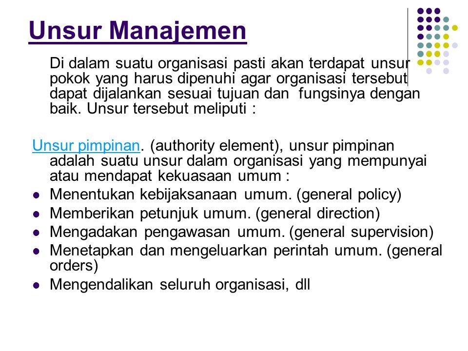 Unsur Manajemen Di dalam suatu organisasi pasti akan terdapat unsur pokok yang harus dipenuhi agar organisasi tersebut dapat dijalankan sesuai tujuan