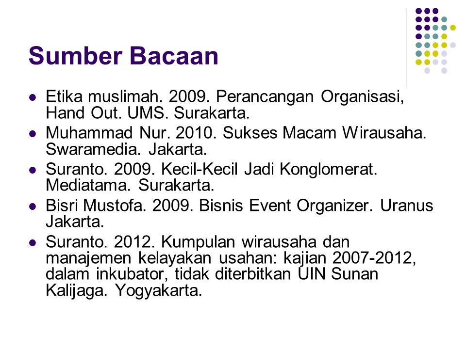 Sumber Bacaan Etika muslimah. 2009. Perancangan Organisasi, Hand Out. UMS. Surakarta. Muhammad Nur. 2010. Sukses Macam Wirausaha. Swaramedia. Jakarta.