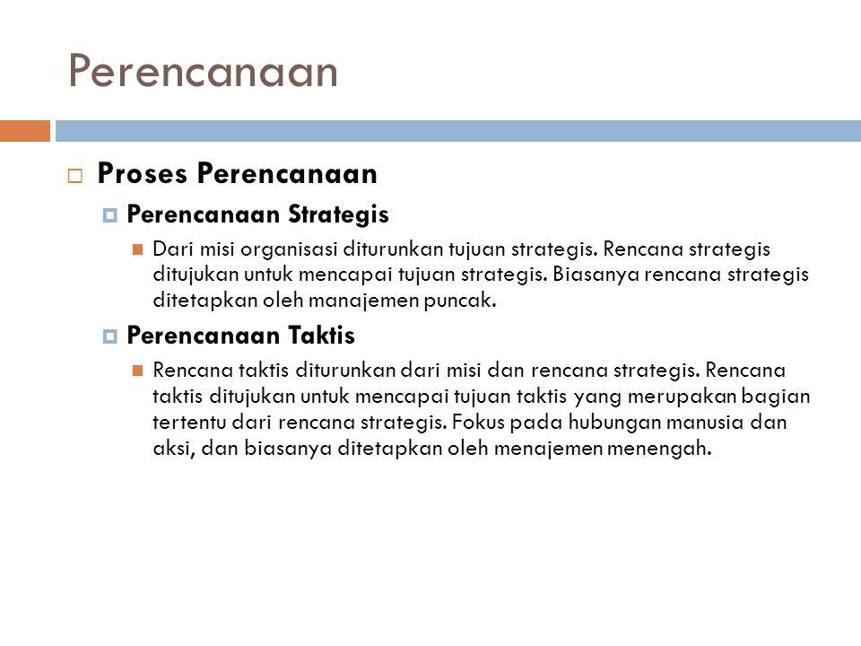 Perencanaan  Proses Perencanaan  Perencanaan Strategis Dari misi organisasi diturunkan tujuan strategis.
