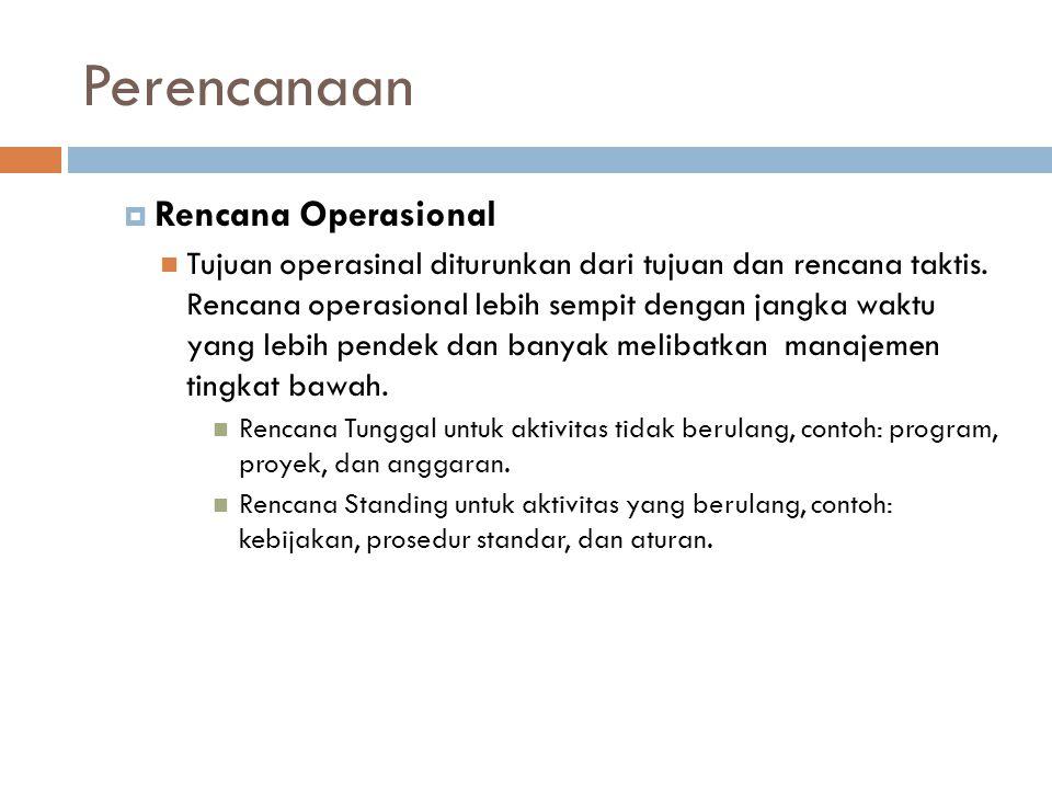 Perencanaan  Rencana Operasional Tujuan operasinal diturunkan dari tujuan dan rencana taktis.