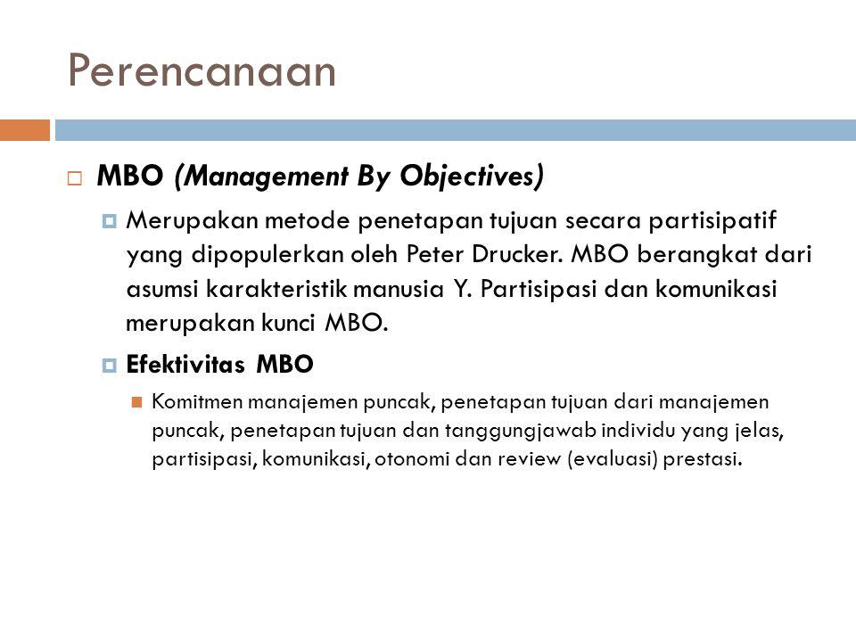Perencanaan  MBO (Management By Objectives)  Merupakan metode penetapan tujuan secara partisipatif yang dipopulerkan oleh Peter Drucker.