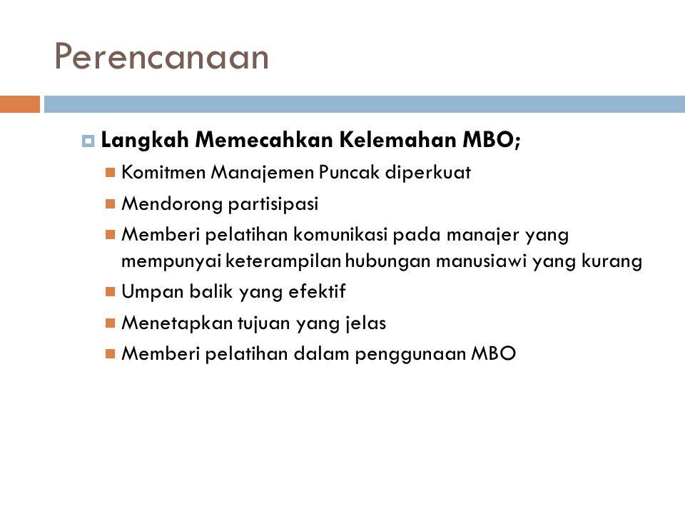 Perencanaan  Langkah Memecahkan Kelemahan MBO; Komitmen Manajemen Puncak diperkuat Mendorong partisipasi Memberi pelatihan komunikasi pada manajer yang mempunyai keterampilan hubungan manusiawi yang kurang Umpan balik yang efektif Menetapkan tujuan yang jelas Memberi pelatihan dalam penggunaan MBO