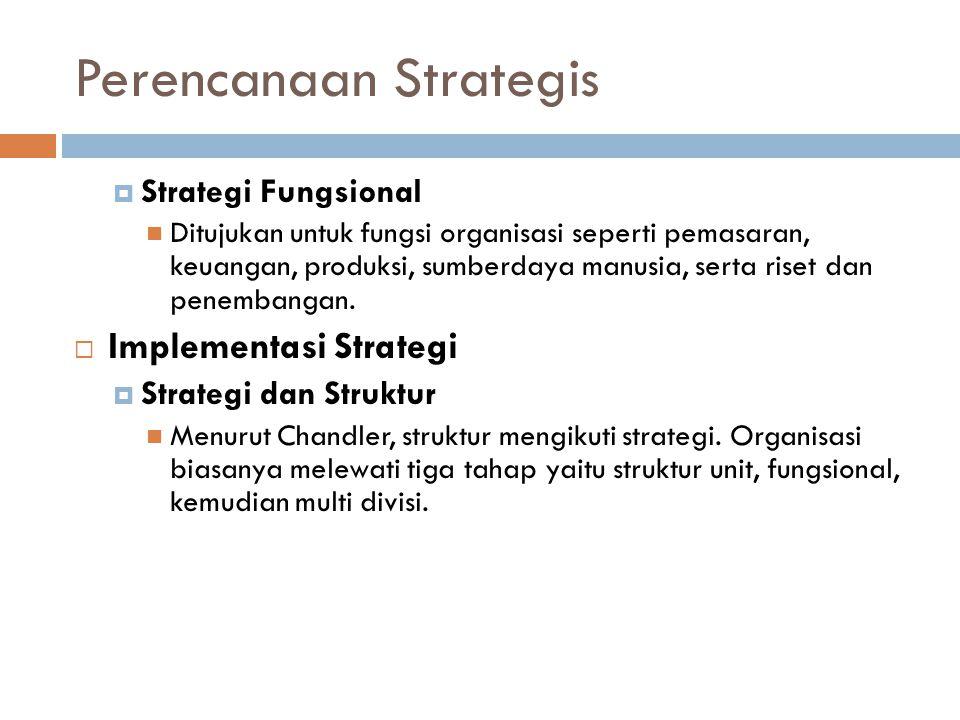 Perencanaan Strategis  Strategi Fungsional Ditujukan untuk fungsi organisasi seperti pemasaran, keuangan, produksi, sumberdaya manusia, serta riset dan penembangan.