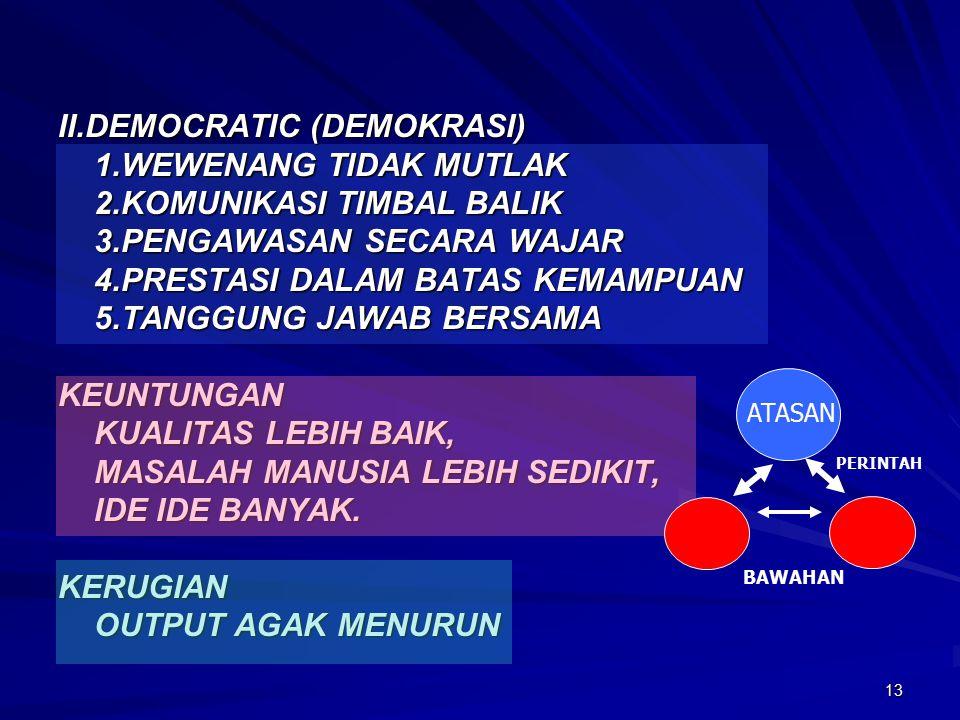 13 II.DEMOCRATIC (DEMOKRASI) 1.WEWENANG TIDAK MUTLAK 2.KOMUNIKASI TIMBAL BALIK 3.PENGAWASAN SECARA WAJAR 4.PRESTASI DALAM BATAS KEMAMPUAN 5.TANGGUNG JAWAB BERSAMA KEUNTUNGAN KUALITAS LEBIH BAIK, MASALAH MANUSIA LEBIH SEDIKIT, IDE IDE BANYAK.