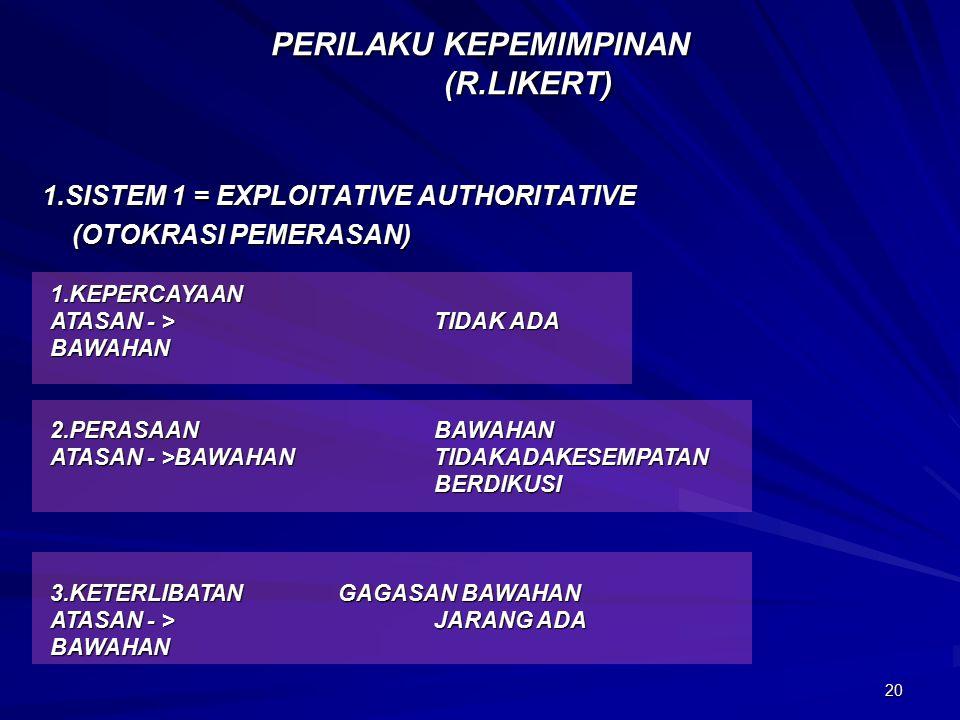 20 PERILAKU KEPEMIMPINAN (R.LIKERT) 1.SISTEM 1 = EXPLOITATIVE AUTHORITATIVE (OTOKRASI PEMERASAN) (OTOKRASI PEMERASAN) 1.KEPERCAYAAN ATASAN - >TIDAK ADA BAWAHAN 2.PERASAANBAWAHAN ATASAN - >BAWAHANTIDAKADAKESEMPATAN BERDIKUSI 3.KETERLIBATANGAGASAN BAWAHAN ATASAN - >JARANG ADA BAWAHAN