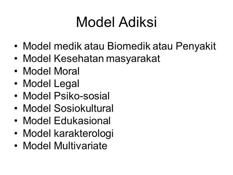 Model Adiksi Model medik atau Biomedik atau Penyakit Model Kesehatan masyarakat Model Moral Model Legal Model Psiko-sosial Model Sosiokultural Model E