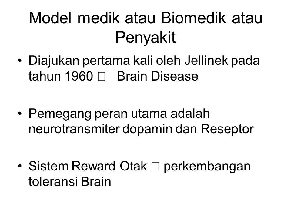 Model medik atau Biomedik atau Penyakit Diajukan pertama kali oleh Jellinek pada tahun 1960  Brain Disease Pemegang peran utama adalah neurotransmite